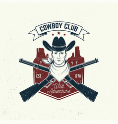 Cowboy club badge t-shirt concept vector