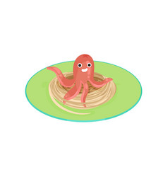 Creative spaghetti garnished with sausage in the vector