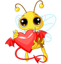 cute bee holding devil heart vector image