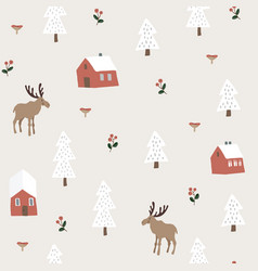 cute festive christmas seamless pattern with moose vector image
