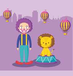 cute lion with clown and balloons air hot vector image