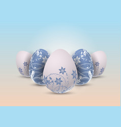Decorative easter eggs with floral design vector