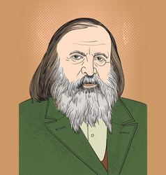 dmitri mendeleev portrait in line art vector image