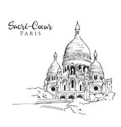 Drawing sketch sacre coeur de paris vector