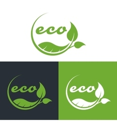 Eco or bio friendly company logo green leaves vector