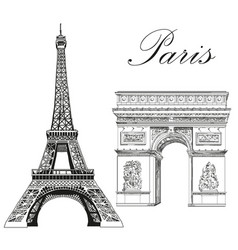 eiffel tower and triumphal arch vector image