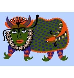 Fantasy animal Ukrainian traditional painting vector