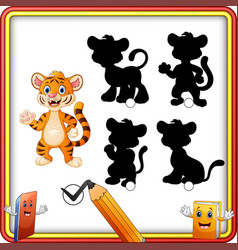 find the correct shadow cartoon funny tiger wavin vector image