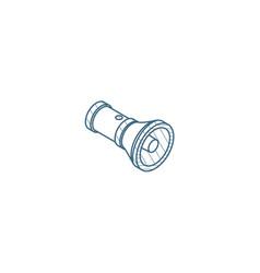 flashlight isometric icon 3d line art technical vector image