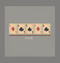 flat shading style icon pair poker vector image