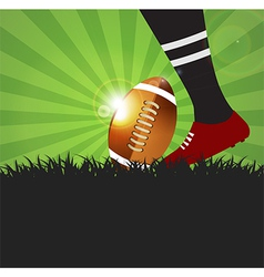 Football or rugby player with ball on grass vector image