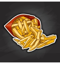 french fry color picture sticker vector image