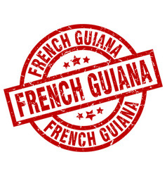 French guiana red round grunge stamp vector