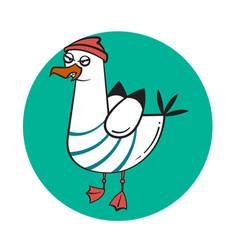 Funny cartoon seagull angry vector