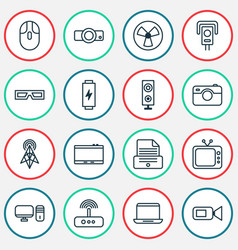 Gadget icons set with battery photographing vector