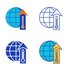 Global warming icon set in flat and line style vector