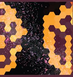 grungy hexagon frame background vector image