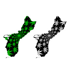 Guam - map is designed cannabis leaf vector