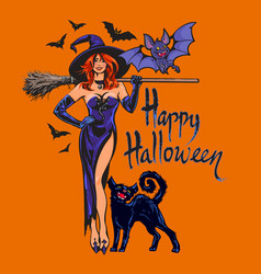 halloween beautiful sexy witch holding broomstick vector image