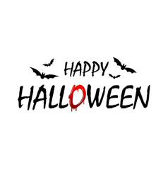 happy halloween text bats black scary design vector image