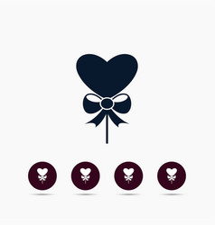 heart with bow icon simple romance element vector image