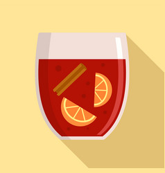 Hot mulled wine icon flat style vector