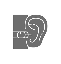 Internal hearing aid gray icon isolated on white vector