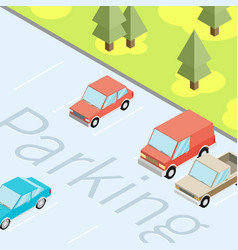 isometric car parked flat vector image vector image