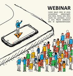 isometric graph people finance webinar vector image