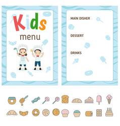 kids menu design kids menu design vector image