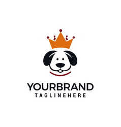 king dog logo design concept dog crown logo vector image