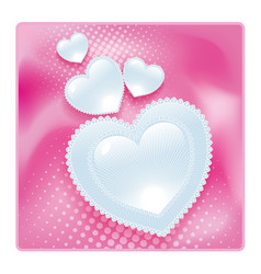 lace glossy hearts pink valentines post card vector image