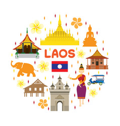 Laos travel attraction label vector