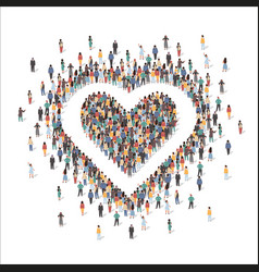 large group people forming human heart shape vector image