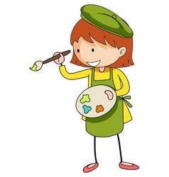 Little artist holding colour palette cartoon vector