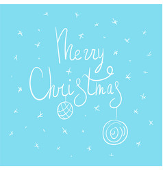 merry christmas lettering with holiday balls vector image