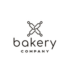 minimalist line art rolling pin for bakeshop logo vector image