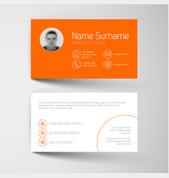 Modern orange business card template with flat vector