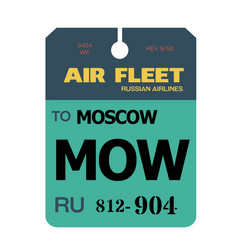 Moscow airport luggage tag vector