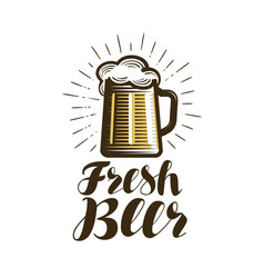 mug of beer logo or label bar pub ale vector image