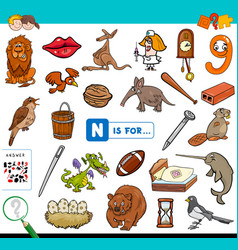 N is for educational game for children vector