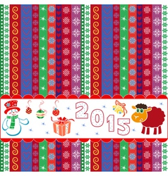 New Year 2015 striped greeting card vector image vector image