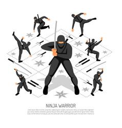 Ninja warrior poster vector