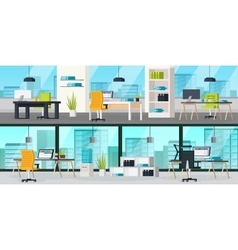 Office Interior Horizontal Banners vector