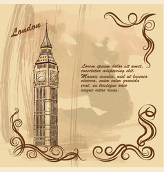 Old card with london city sights big ben vector