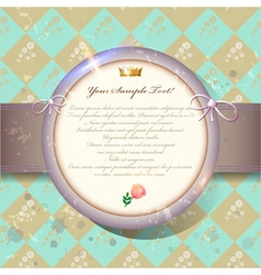 Old invitation card with round label on green vector