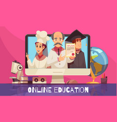 Online education cartoon composition vector