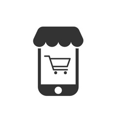 online shopping icon in flat style smartphone vector image
