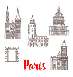 paris travel landmarks buildings line icons vector image