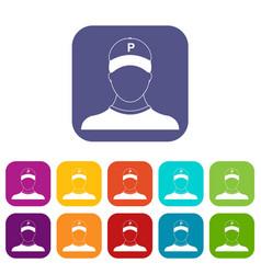Parking attendant icons set vector